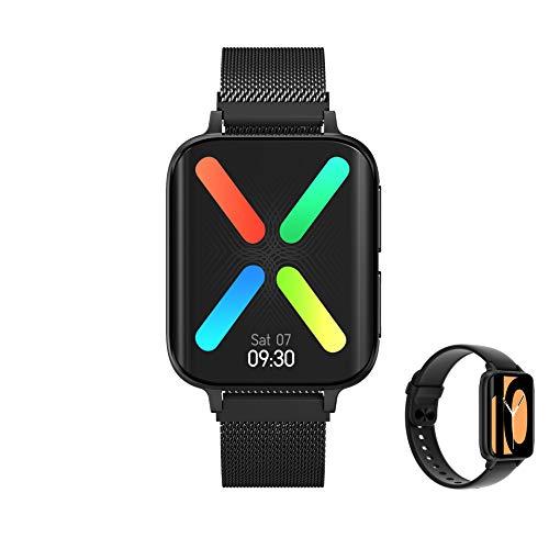 Aliwisdom - Reloj Inteligente para Hombre Mujere, Smartwatch con Llamadas Bluetooth y Recordatorio de Whatsapp y reproducción de música Impermeable Reloj Deportivo para iPhone Android (Negro)