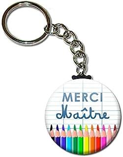 Merci Maître Porte Clés Chaînette 3,8 centimètres Idée Cadeau Accessoire Fin d'année Scolaire École Noël Remerciement