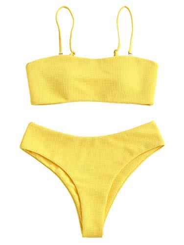 Zaful - Conjunto de bikini con tirantes, acolchado y texturizado para mujer amarillo-1 M