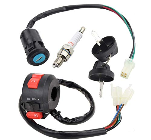 4 Wires Ignition Switch Key with Cap+3 Function Left starter Switch Assembly for 50cc 70 cc 90cc 110 cc 125cc 150cc TaoTao SUNL Chinese ATV Quad 4 Wheeler 125cc Apollo Dirt Bike Scooter Parts