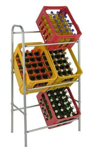 Kistenregal Flaschenkasten - Regal Ständer für bis zu 6 Kisten, Farbe silber / grau