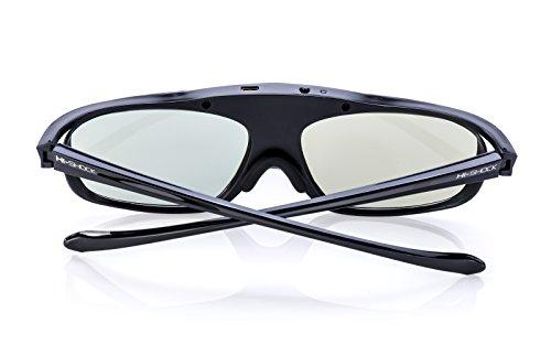 Hi-SHOCK® 3D-BT Pro Black Heaven | Smart Active 3D Brille für 3D TVs von Sony, Samsung, Panasonic, | komp mit SSG-3570 CR / TDG-BT500A / AN3DG35 / TY-ER3D6ME [120 Hz | Akku | Bluetooth]