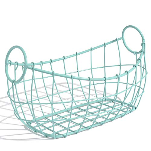 Fruit Basket Bowl - 2 Colors Available - Wire Design with a Vintage Decorative Style - Great Countertop Centerpiece. Perfect for Fruit, Vegetables, Bread and More (Bright Blue)