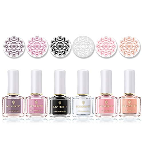 BORN PRETTY Estampage Vernis à Ongles Macaron Couleurs Rose Rouge Blanc Noir Vernis à Ongles Laque Nail Art Plaque Impression 6 Couleurs Kit