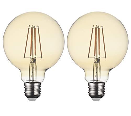 SD LUX Bombillas LED E27 de 8W con filamento vintage bombillas LED G95 ámbar sin parpadeo con rosca Edison 810 lm (equiv. 75W) blanco cálido 2700 K no regulable, 2 paquetes [clase energética A+]