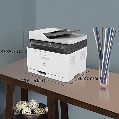 HP Color Laser MFP 179fnw 4ZB97A, Impresora Láser Color Multifunción, Imprime, Escanea, Copia y Fax, Wi-Fi, Ethernet, USB 2.0 alta velocidad, HP Smart App, Panel de Control LCD, Blanca