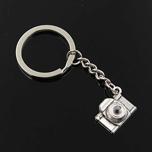 GEYKY Männer 30mm Schlüsselbund DIY Metallhalter Kette Vintage Retro Kamera 16x21x6mm Silber Farbe Anhänger Geschenk