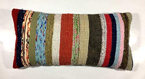 Kilim Cushion covers 30x60 cm Cotton Rag Lumbar Pillow Cover 12'x24' in. Handmade Turkish Oushak Rug Carpet Bohemian Ethnic Oblong Throw Pillow Code 368