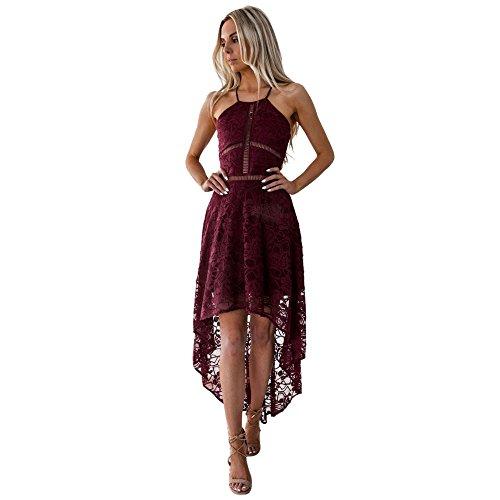 Ronamick - Vestito da donna, estivo, senza maniche, formale, per damigella d'onore, matrimonio, ballo, cocktail, abito da sera, abito da cocktail Vino S