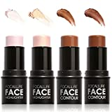 4 Pcs Contour and Highlighter Stick Professional Waterproof Long-lasting 3D Face Concealer Contouring Highlighting Shimmer Shaping Foundation Creamy Pen Stick Makeup Set