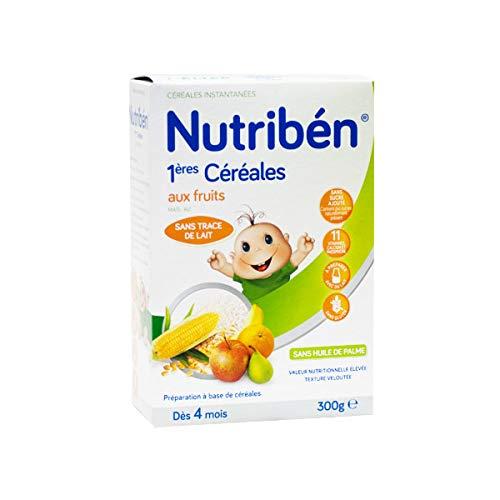 Nutribén Bouillie Bébé Instantanée 1Ères Céréales aux Fruits sans Gluten Élaborée/Lait dès 4 Mois 300 g, 1 Unité