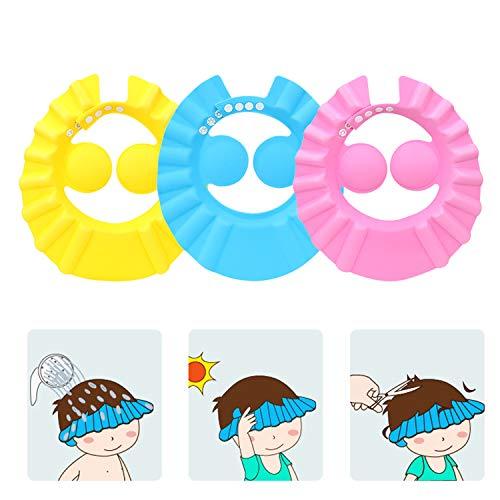 SUNTRADE 3Pcs Cute Kids Adjustable Shampoo Bath Bathing Shower Cap Hat Wash Hair Shield