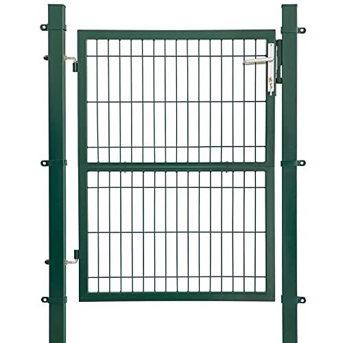 LARMNEE Gartentor, für Stabmattenzau, Gartentür aus verzinktem Stahl, robust und langlebig, Zauntor, 120 x 106 cm, Gartenpforte, Hoftor mit Griff,...
