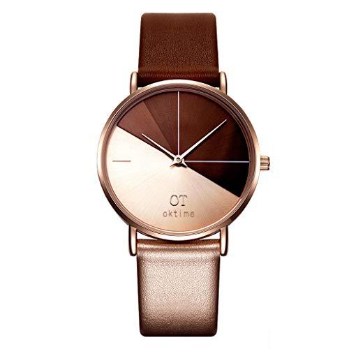 Mixe Damen Slim Uhren Mode Leder Armbanduhr Casual Damenuhr Unregelmäßige Uhr Rosegold