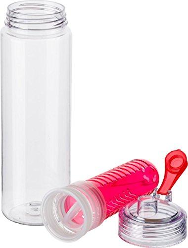 Preiswert&Gut Wasserflasche 650 ml Trinkflasche mit Früchteeinsatz Flasche mit Fruchteinsatz BPA Frei Getränkeflaschen Farbwahl (Rot)