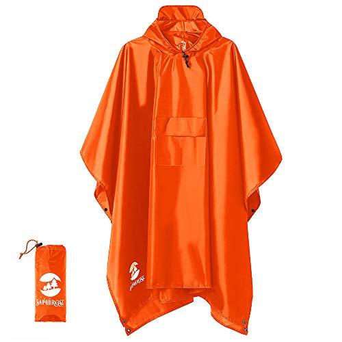 Multifunctional Mens Womens Rain Poncho Waterproof Outdoor Raincoat(Orange)