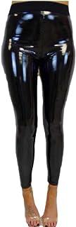 Keaac 女性PUレザー高は、光沢のあるレギンスパンツをメタリックカラーズボン