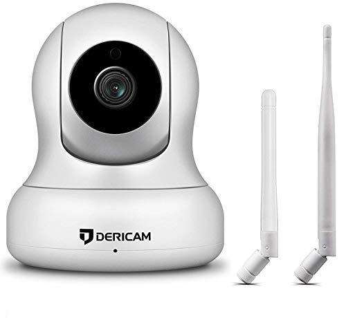 Cámara de Seguridad WiFi 1080P, Pan/Tilt, Zoom Digital 4X, Visión Nocturna y conversación bidireccional, Monitor para Mascotas de bebé, Antena WiFi Alternativa, P2, Blanco