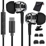 USB C Kopfhörer mit Mikrofon, AILZPXX USB C Ohrhörer Noise Cancelling Headset mit Kabel in-Ear Kopfhörer für Samsung Galaxy S21 S20 FE Z Flip 3 OnePlus Nord 2 9 8 Pro Huawei P30 P40 Pro