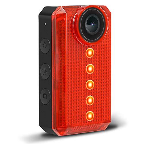 TEENTOK - Telecamera per bicicletta con luce posteriore a LED, Full HD, con luce posteriore WiFi per bicicletta, ricaricabile tramite USB, 6 opzioni di modalità di illuminazione