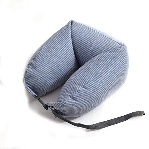 Almohada de Viaje Almohada para automóvil Almohada portátil en Forma de U Protección para el Cuello Almohada para avión con Columna Cervical Almohada para Siesta Linda-Rayas Grises Azules