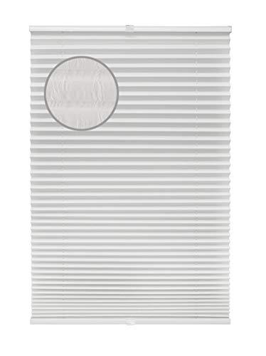 Plissee Crushed optik Weiß verschiedene Größen Fertigplissee verspannt für Fenster ohne Bohren Blickdicht mit Klemmträger Sonnenschutzrollo Fensterrollo Klemmfix Plissee Rollo Jalousie 80x220 cm