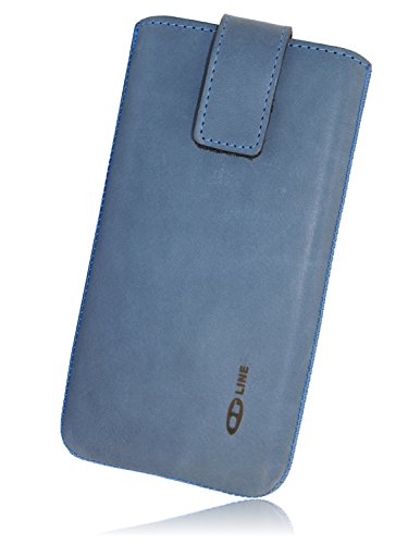 OrLine Handytasche passend für Lenovo Phab 2 Pro. Elegant Ledertasche Tasche Echtleder Leder-Hülle (Lasche mit Rückzugfunktion Ausziehhilfe Klettverschluss befestigt) Schutzhülle Hülle