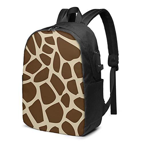 Hdadwy Giraffe Pattern USB School Backpack Large Capacity Canvas Satchel Casual Travel Daypack for Adult Teen Women Men 17in