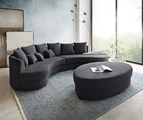 DELIFE Couch Lerika Graphite 306x183 Ottomane rechts mit Hocker