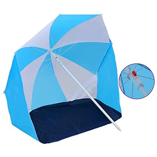 vidaXL Parasol de Plage Pare-Soleil de Camping Parasol de Jardin Parasol d'Extérieur Evénements Sportifs Festival Bleu et Blanc 180 cm Tissu