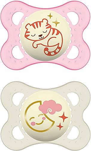 MAM Juego de 2 chupetes de noche para bebé, chupetes luminosos, chupetes de silicona ultrasuave para aceptación rápida, con caja de transporte esterilizada, 0-6 meses, Tigre/Luna