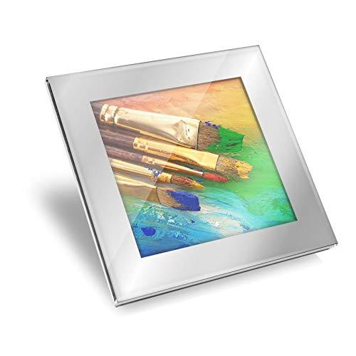 Impresionante posavasos de cristal plateado – Pinceles de pintura pintor brillante calidad posavasos/protección de mesa para cualquier tipo de mesa #14187
