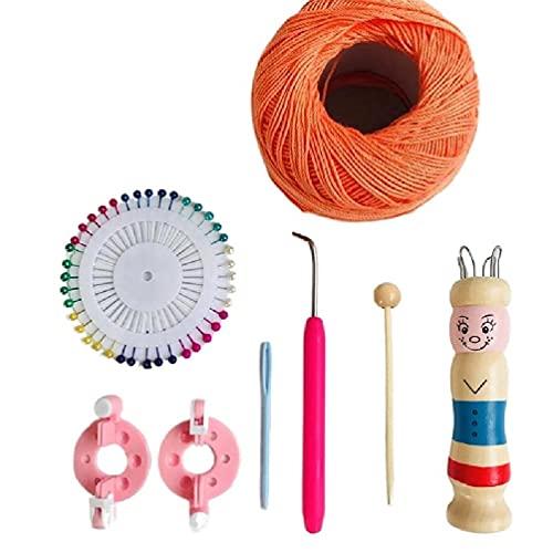 Muñeca de dibujos animados forma pulsera herramienta de hacer punto DIY pulsera máquina de hacer punto hilo lana pulsera artesanía tejedor Woodcraft telar pulsera