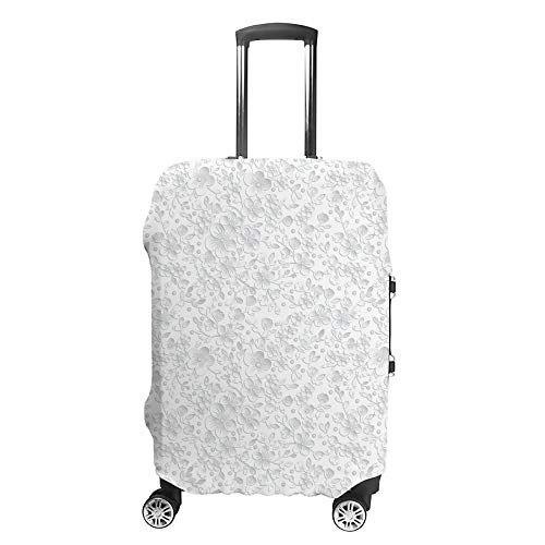 CHEHONG Funda para maleta, diseño de flores pintadas a mano, color blanco, funda protectora lavable, fibra de poliéster elástica, a prueba de polvo, se adapta a 45 – 81 cm