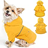 【WATERFROOF & BREATHABLE MATERIAL】MORVIGIVE waterproof dog raincoat is made of professional outdoor cloth which is lightweight and breathable. This rain hoodie for dogs is waterproof and windproof enough to keep your dogs dry and comfort when walking...