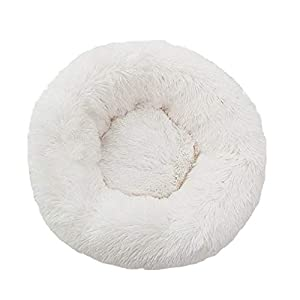 XIAJIE Pet Bed, Fluffy Luxe Soft Plush Round Cat and Dog Bed, Donut Cat and Dog Cushion Bed, Self-Warming and Improved Sleep, Orthopedic Relief Shag Faux Fur Bed Cushion