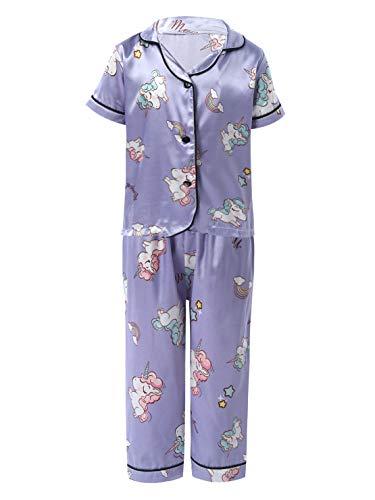 Yeahdor Kinder Schlafanzug Jungen Mädchen Lang Pyjama Kurzarm Top Cartoon...
