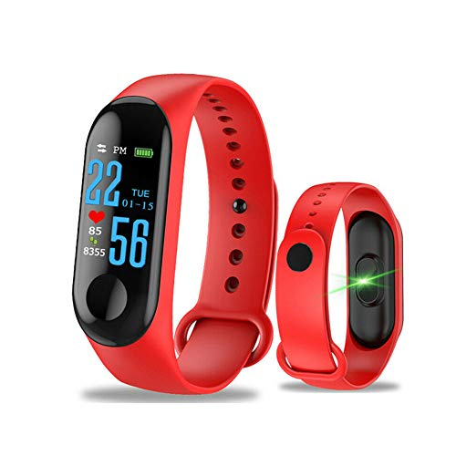 Auveach Intelligente Bracciale Blood Pressure IPS Schermo Pedometro Ossigeno Cardiofrequenzimetro M3 Impermeabile IP68 Braccialetti Tracker Smart Watch (Rosso)