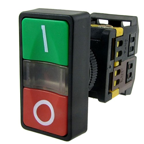SODIAL AC 220V Luz amarilla ENCENDIDO APAGADO COMIENZO PARADA Interruptor de boton pulsador momentaneo 1 NO 1 NC
