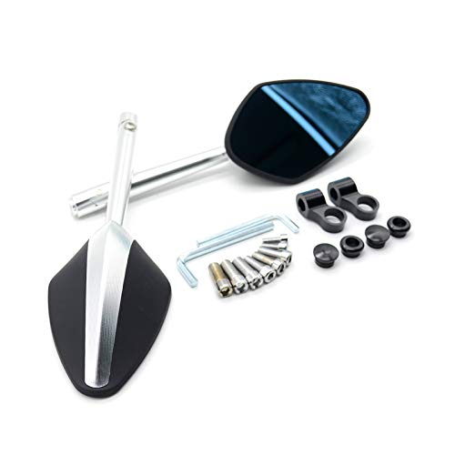 LAIQIAN Moto Trasero Mirror Universal Motocicleta Retrovisores Retrovisores Vidrio Azul Vista Trasera Lateral Espejo Moto Accesorios Fit For Suzuki SV 650 Hayabusa Gsx1300r (Color : Sliver)