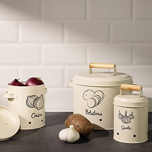 Navaris Botes de Cocina para Alimentos - 3X Bote con Tapa para almacenaje de ajos cebollas Patatas - Recipientes Vintage - Tarros ventilados de Metal