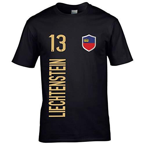 FanShirts4u Herren Fan-Shirt Jersey Trikot - Liechtenstein - T-Shirt inkl. Druck Wunschname & Nummer WM EM (4XL, Liechtenstein/schwarz)