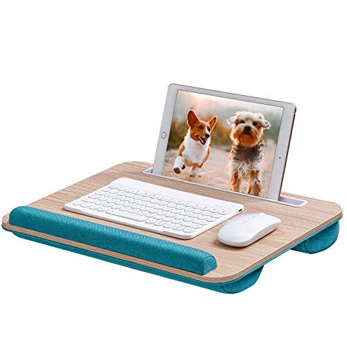 Knie Laptop Tisch - Tragbarer Laptoptisch mit Kissen, passend für bis zu 15,6 Zoll Laptops, mit Tablet Halter und Antirutsch Streifen Funktion, für Home Office Erwachsene Kinder als Laptop Ständer