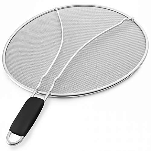 """Bellemain Splatter Screen with Soft Grip Handle, Stainless Steel, Fine Mesh Heavy Duty Splatter Guard (13""""). Protects skin, clothing, and stove from cooking splatter."""