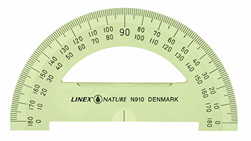 LINEX 100413057 liniaal nature gradenboog 180 graden verpakking met 10 cm diameter 10 cm transparant met facet en inktrand biologisch afbreekbaar liniaal halfrond hoekmeting