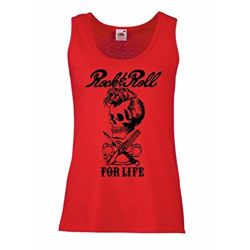 lepni.me Camisetas sin Mangas para Mujer Rock and Roll For Life - 1960s, 1970s, 1980s - Banda de Rock Vintage - Musicalmente - Vestimenta de Concierto (Medium Rojo Multicolor)