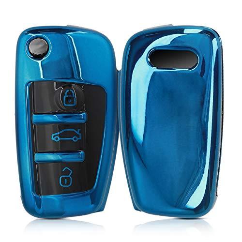 kwmobile Autoschlüssel Hülle kompatibel mit Audi 3-Tasten Klappschlüssel - TPU Schutzhülle Schlüsselhülle Cover in Hochglanz Blau