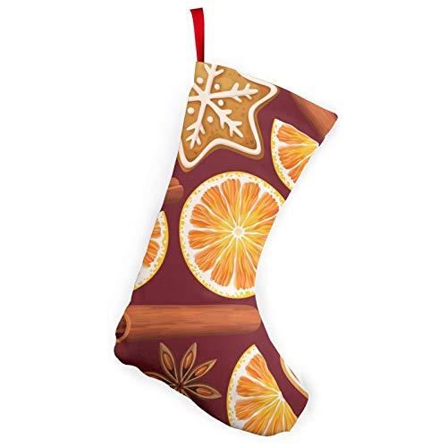 RTBB Paquete de 2 medias navideñas de 25,4 cm, especias glaseado, galletas, naranja, personalizable, accesorio de fiesta para decoración de vacaciones, chimenea, patio o jardín