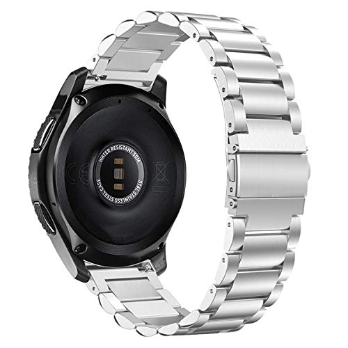 XZZTX Sangle Compatible avec Samsung Galaxy Montre 42mm, 20 mm Bandes en Acier Inoxydable Métal Montres pour Galaxy Montre Actif/Vitesse S2 Classique/Vitesse Sport/Garmin Vivomove HR