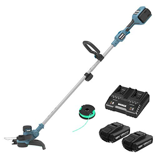 Cordless Grass Trimmer 36V, WESCO 2-in-1 strimmer cordless with 2x 2.0Ah Battery, Charger, Cutting Diameter 330 mm, Command Line Feed System with Edging Wheel, 180° Adjustable Handles, 90° Head Pivots